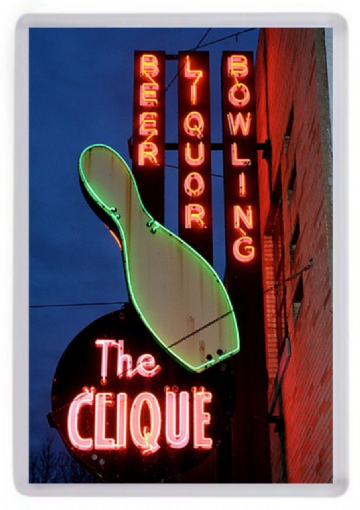 Clique Bowling Sign Fridge Magnet. Retro Americana. Neon